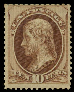 Values of US Stamps Scott #139 - 1870 10c Jefferson Grill. Daniel Kelleher Auctions, May 2015, Sale 669, Lot 2617