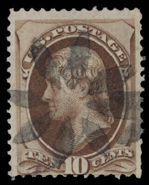 Values of US Stamp Scott Catalog #139: 1870 10c Jefferson Grill. Daniel Kelleher Auctions, May 2015, Sale 669, Lot 2619