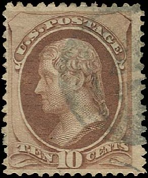 US Stamp Value Scott 139 - 1870 10c Jefferson Grill. Regency-Superior, Aug 2015, Sale 112, Lot 299