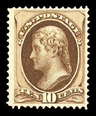 US Stamps Values Scott Cat. #139: 1870 10c Jefferson Grill. Cherrystone Auctions, Jul 2015, Sale 201507, Lot 2060
