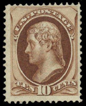 US Stamps Values Scott 139 - 10c 1870 Jefferson Grill. Daniel Kelleher Auctions, Jan 2015, Sale 663, Lot 1381