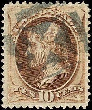 Price of US Stamp Scott 139: 1870 10c Jefferson Grill. Regency-Superior, Nov 2014, Sale 108, Lot 321