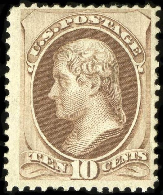 US Stamps Values Scott Cat. #139: 10c 1870 Jefferson Grill. Spink Shreves Galleries, Jul 2015, Sale 151, Lot 135