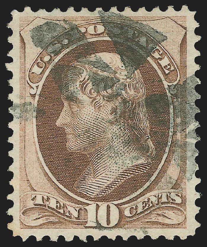 US Stamps Price Scott Catalogue 139 - 1870 10c Jefferson Grill. Robert Siegel Auction Galleries, Jul 2015, Sale 1107, Lot 263