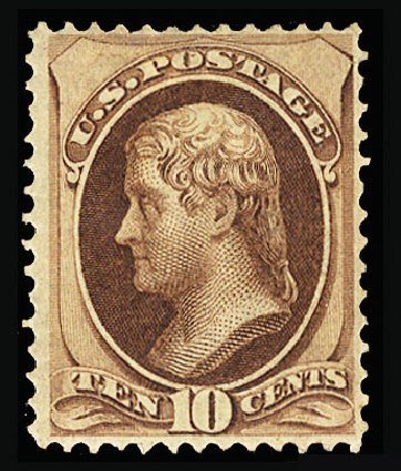 Cost of US Stamps Scott Catalogue 139: 1870 10c Jefferson Grill. Cherrystone Auctions, Jan 2015, Sale 201501, Lot 146
