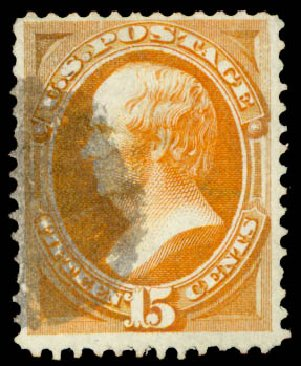 US Stamps Price Scott Cat. #141 - 1870 15c Webster Grill. Daniel Kelleher Auctions, Aug 2015, Sale 672, Lot 2406
