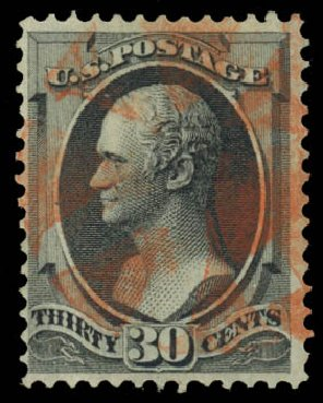 Value of US Stamp Scott Cat. 143: 30c 1870 Hamilton Grill. Daniel Kelleher Auctions, Jan 2015, Sale 663, Lot 1383