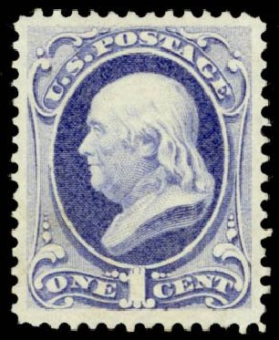 US Stamps Prices Scott Catalogue #145 - 1c 1870 Franklin Without Grill. Daniel Kelleher Auctions, May 2014, Sale 653, Lot 2107