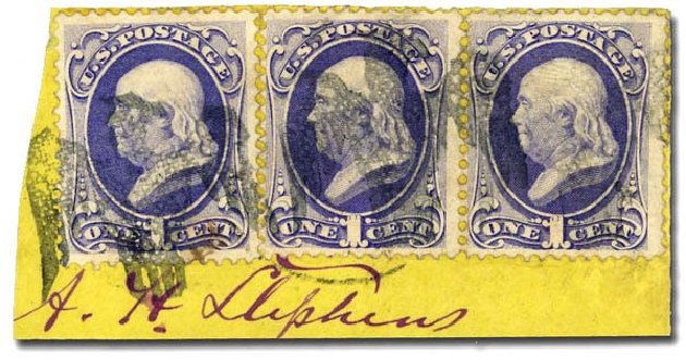 Values of US Stamps Scott Catalog # 145 - 1c 1870 Franklin Without Grill. Daniel Kelleher Auctions, May 2014, Sale 652, Lot 278