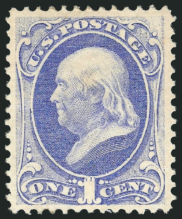 Costs of US Stamp Scott Catalogue 145: 1c 1870 Franklin Without Grill. Robert Siegel Auction Galleries, Apr 2015, Sale 1096, Lot 279