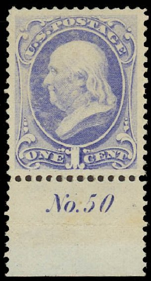 Price of US Stamp Scott Catalogue #145: 1870 1c Franklin Without Grill. Daniel Kelleher Auctions, Aug 2015, Sale 672, Lot 2411