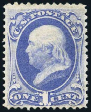 US Stamps Value Scott #145 - 1c 1870 Franklin Without Grill. Harmer-Schau Auction Galleries, Nov 2014, Sale 103, Lot 103