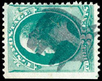 Values of US Stamps Scott Catalog #147: 1870 3c Washington Without Grill. Schuyler J. Rumsey Philatelic Auctions, Apr 2015, Sale 60, Lot 2152