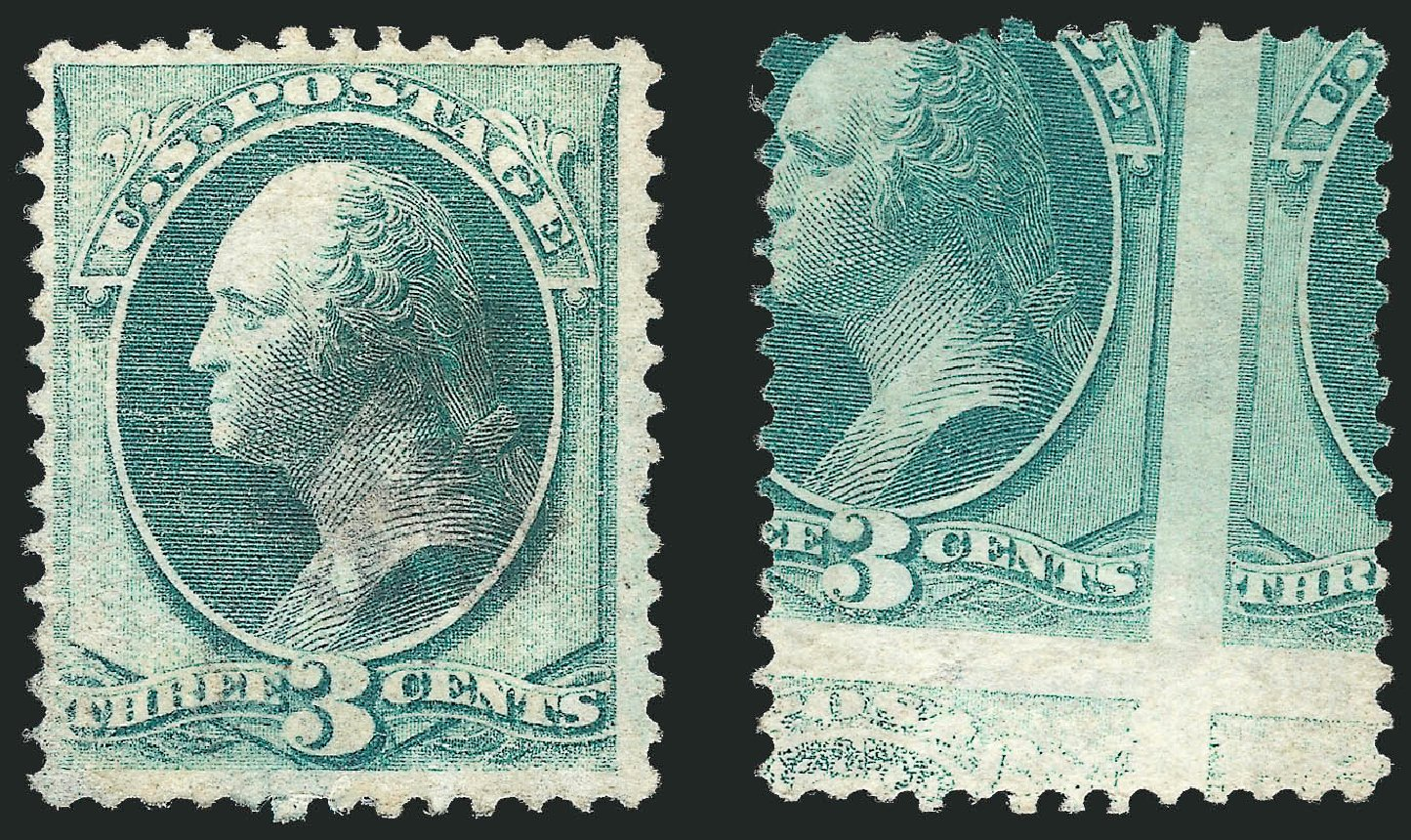 US Stamps Price Scott Cat. 147: 3c 1870 Washington Without Grill. Robert Siegel Auction Galleries, Sep 2012, Sale 1027, Lot 53
