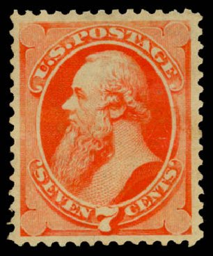 Values of US Stamps Scott Catalogue # 149: 1871 7c Stanton Without Grill. Daniel Kelleher Auctions, Aug 2015, Sale 672, Lot 2414