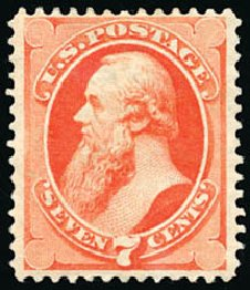 Prices of US Stamp Scott 149 - 1871 7c Stanton Without Grill. Schuyler J. Rumsey Philatelic Auctions, Apr 2015, Sale 60, Lot 2153