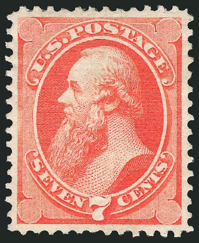 US Stamp Values Scott Catalog #149: 1871 7c Stanton Without Grill. Robert Siegel Auction Galleries, Sep 2014, Sale 1078, Lot 293
