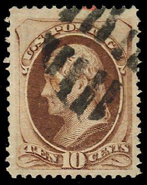 Values of US Stamps Scott Cat. 150 - 10c 1870 Jefferson Without Grill. Daniel Kelleher Auctions, Dec 2012, Sale 633, Lot 418
