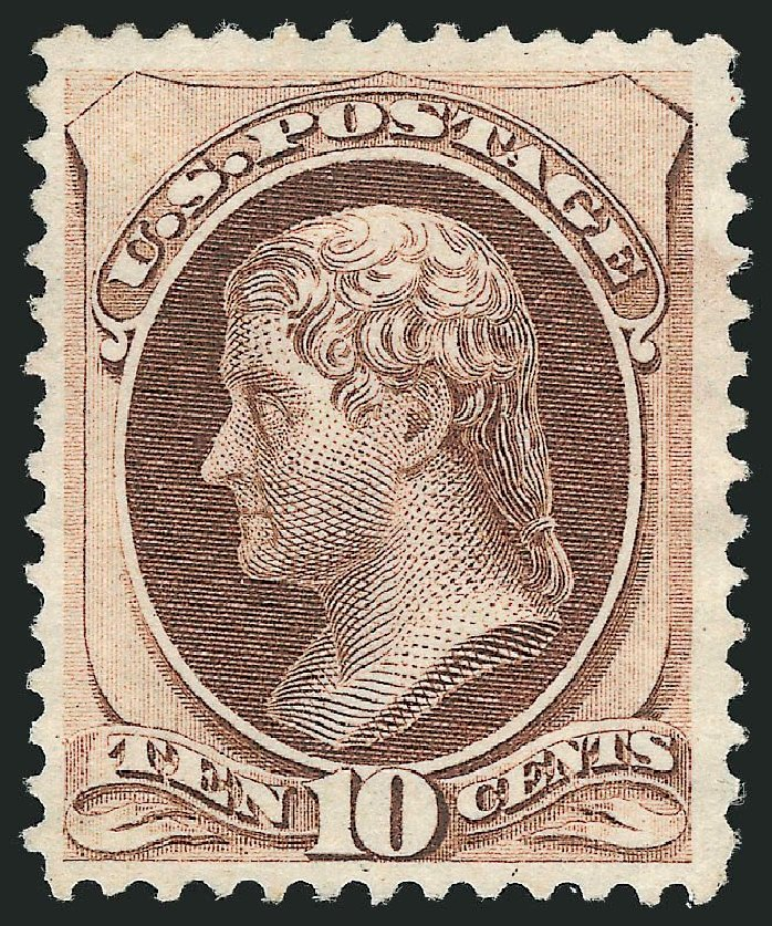 US Stamps Value Scott Catalogue # 150: 1870 10c Jefferson Without Grill. Robert Siegel Auction Galleries, Nov 2013, Sale 1057, Lot 728