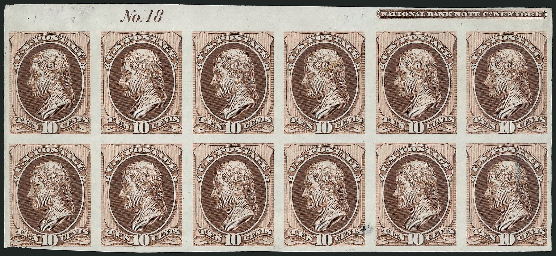 Cost of US Stamp Scott Catalogue #150 - 10c 1870 Jefferson Without Grill. Robert Siegel Auction Galleries, Oct 2014, Sale 1082, Lot 118