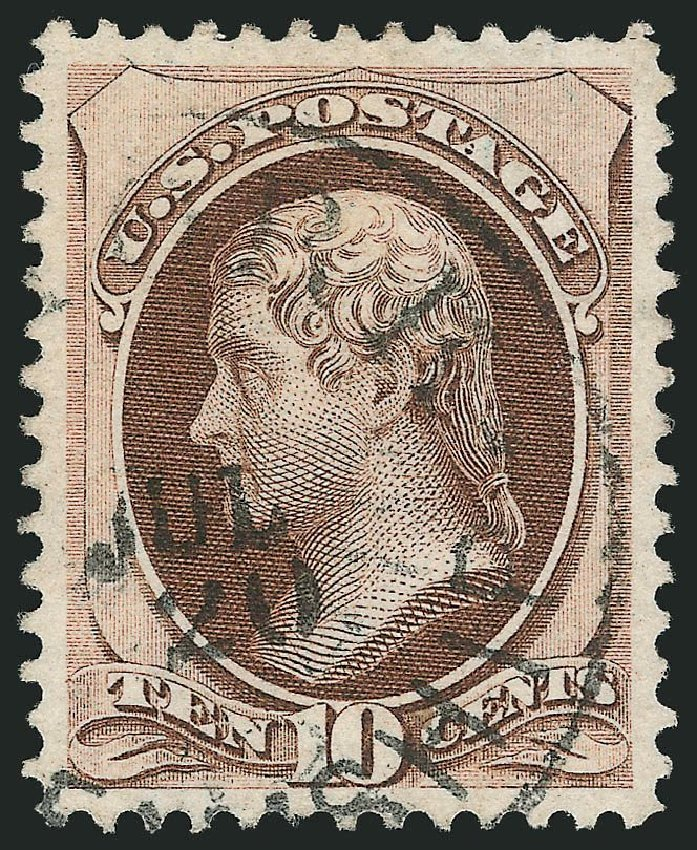 Prices of US Stamps Scott Catalog 150 - 10c 1870 Jefferson Without Grill. Robert Siegel Auction Galleries, Nov 2014, Sale 1084, Lot 3398