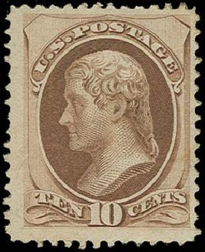 Value of US Stamps Scott 150: 1870 10c Jefferson Without Grill. H.R. Harmer, Oct 2014, Sale 3006, Lot 1209