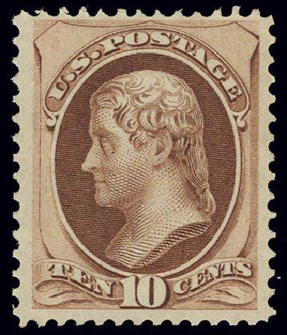 US Stamps Value Scott Catalogue # 150 - 1870 10c Jefferson Without Grill. Daniel Kelleher Auctions, Feb 2013, Sale 634, Lot 121