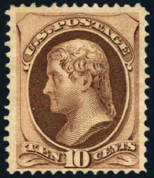 US Stamp Price Scott Catalog #150 - 1870 10c Jefferson Without Grill. Harmer-Schau Auction Galleries, Nov 2014, Sale 103, Lot 104