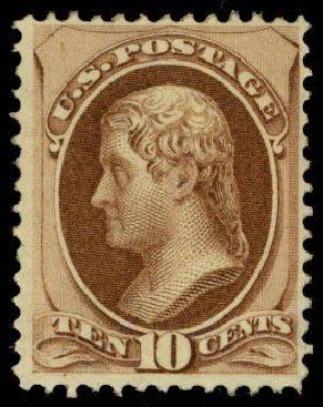 US Stamps Values Scott Cat. #150 - 1870 10c Jefferson Without Grill. Daniel Kelleher Auctions, Apr 2013, Sale 636, Lot 164