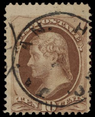 Prices of US Stamp Scott Catalog 150: 1870 10c Jefferson Without Grill. Daniel Kelleher Auctions, May 2015, Sale 669, Lot 2634