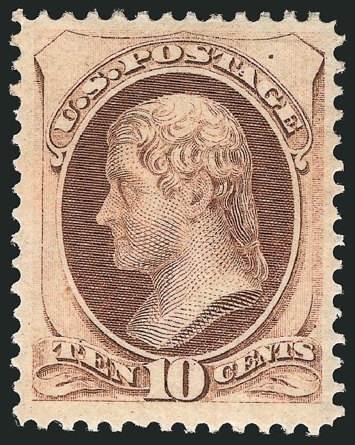 Costs of US Stamps Scott Catalog 150: 10c 1870 Jefferson Without Grill. Robert Siegel Auction Galleries, Sep 2014, Sale 1078, Lot 294