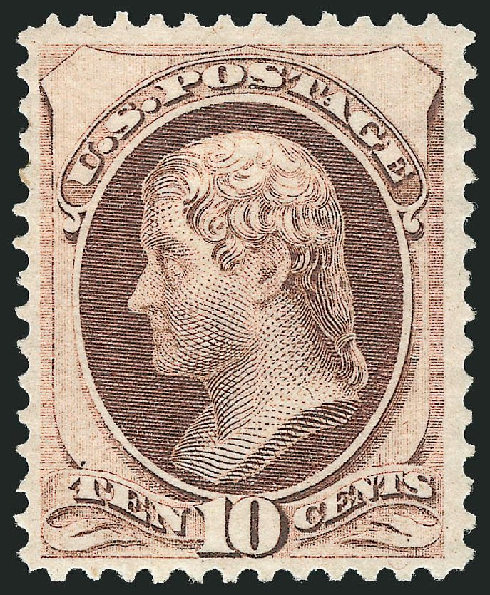 Prices of US Stamps Scott Catalog 150: 1870 10c Jefferson Without Grill. Robert Siegel Auction Galleries, Apr 2015, Sale 1096, Lot 284