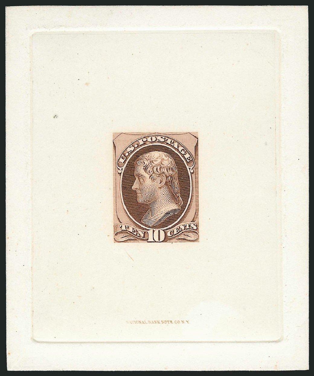 US Stamps Values Scott Catalog 150: 1870 10c Jefferson Without Grill. Robert Siegel Auction Galleries, Nov 2013, Sale 1057, Lot 525
