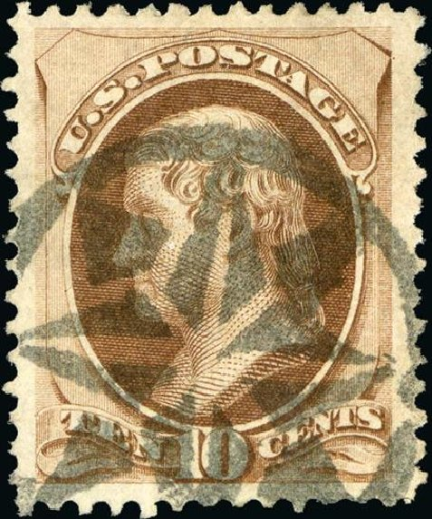 Values of US Stamp Scott Catalogue 150 - 10c 1870 Jefferson Without Grill. Spink Shreves Galleries, Jan 2015, Sale 150, Lot 105