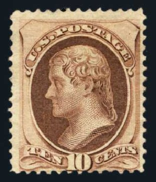 Prices of US Stamp Scott Catalogue # 150: 10c 1870 Jefferson Without Grill. Harmer-Schau Auction Galleries, Aug 2014, Sale 102, Lot 1792