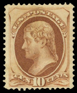 Cost of US Stamps Scott Catalog #150: 1870 10c Jefferson Without Grill. Daniel Kelleher Auctions, May 2015, Sale 669, Lot 2632