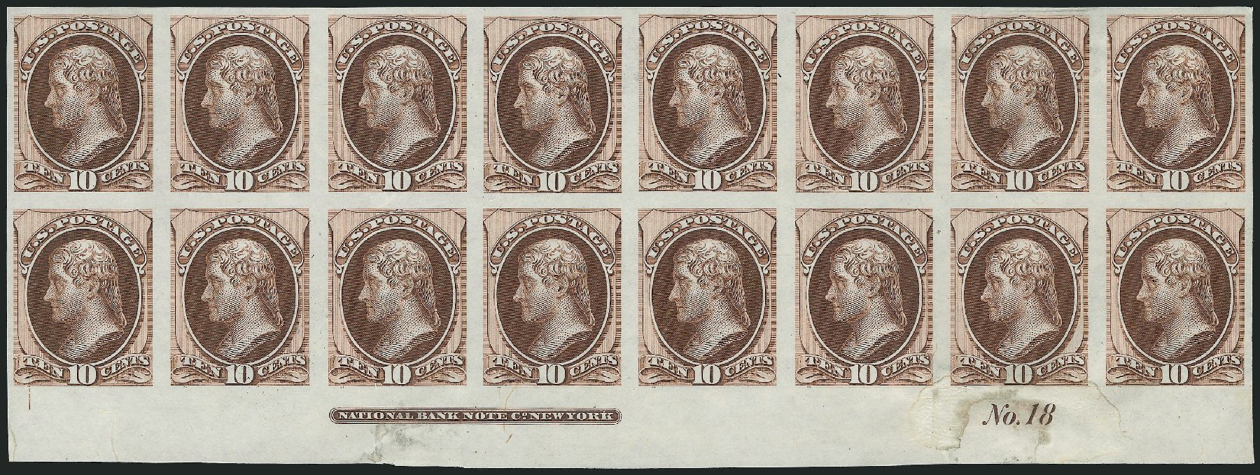 Costs of US Stamp Scott Catalog # 150: 10c 1870 Jefferson Without Grill. Robert Siegel Auction Galleries, Nov 2013, Sale 1061, Lot 3232