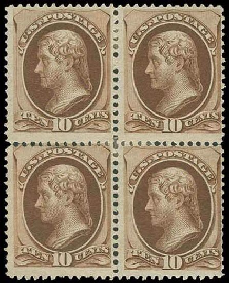 Cost of US Stamps Scott Catalogue 150 - 1870 10c Jefferson Without Grill. H.R. Harmer, Nov 2013, Sale 3004, Lot 1113