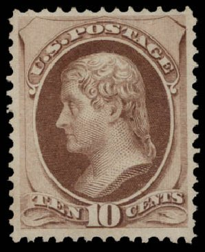 US Stamps Value Scott Cat. # 150: 1870 10c Jefferson Without Grill. Daniel Kelleher Auctions, May 2015, Sale 669, Lot 2633