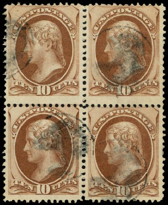 Costs of US Stamps Scott Catalog #150: 1870 10c Jefferson Without Grill. Daniel Kelleher Auctions, May 2014, Sale 652, Lot 286