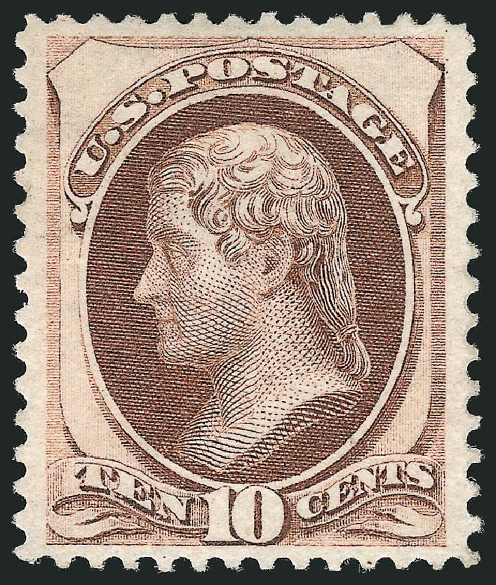 Price of US Stamp Scott Catalogue #150: 1870 10c Jefferson Without Grill. Robert Siegel Auction Galleries, Nov 2013, Sale 1057, Lot 726