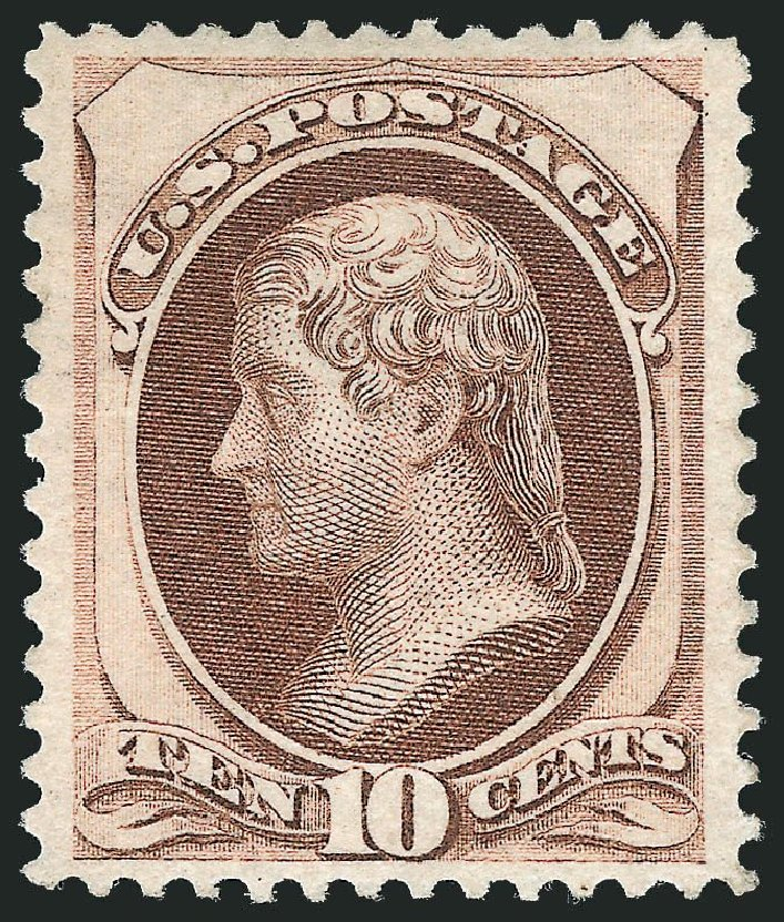 Costs of US Stamp Scott Catalogue # 150 - 1870 10c Jefferson Without Grill. Robert Siegel Auction Galleries, Dec 2014, Sale 1090, Lot 1316