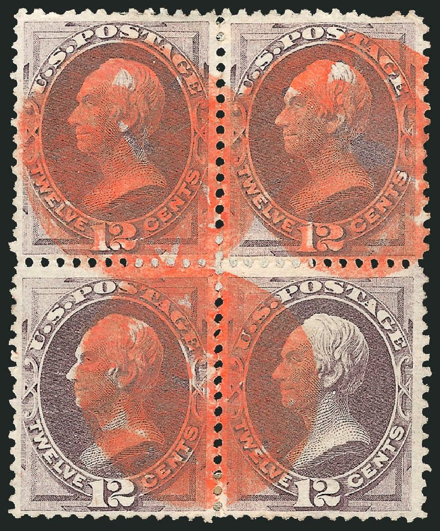 US Stamps Values Scott Cat. # 151: 12c 1870 Clay Without Grill. Robert Siegel Auction Galleries, Nov 2014, Sale 1084, Lot 3401