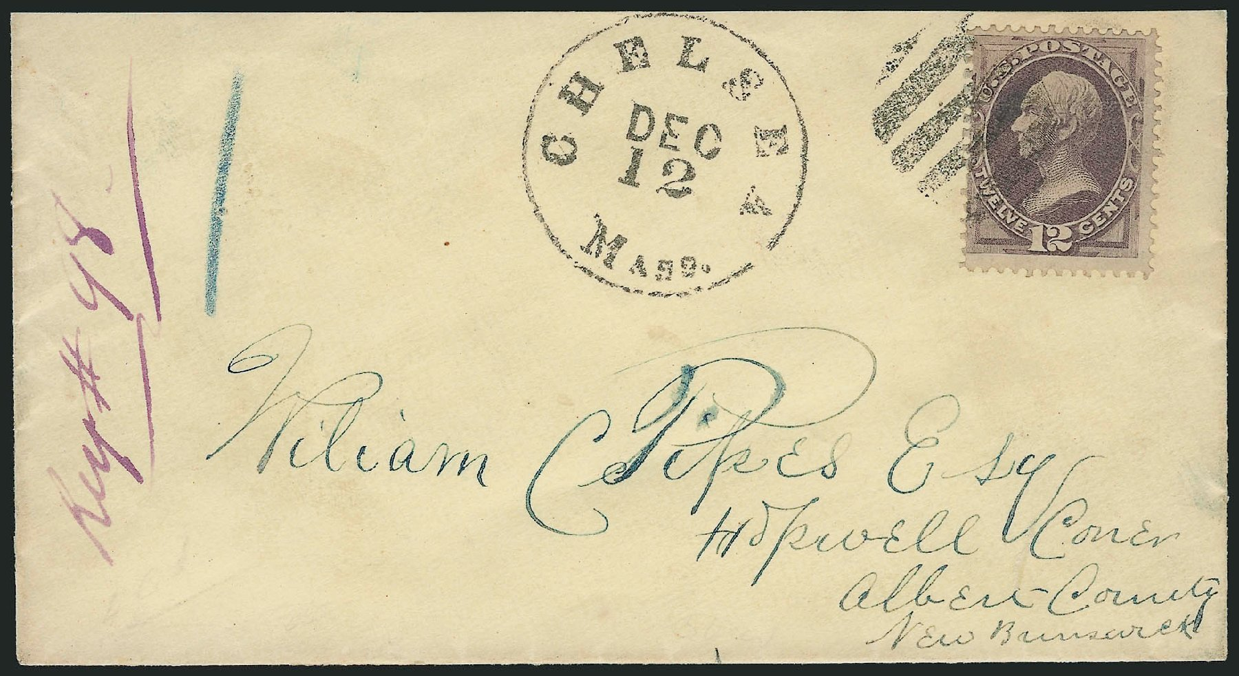 US Stamps Price Scott Catalogue # 151 - 1870 12c Clay Without Grill. Robert Siegel Auction Galleries, Nov 2014, Sale 1084, Lot 3402
