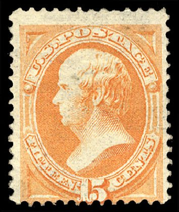 US Stamps Values Scott Cat. # 152 - 1870 15c Webster Without Grill. Cherrystone Auctions, Jan 2015, Sale 201501, Lot 147
