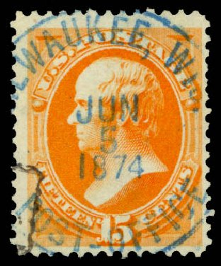 Cost of US Stamps Scott Cat. # 152: 1870 15c Webster Without Grill. Daniel Kelleher Auctions, Aug 2015, Sale 672, Lot 2417