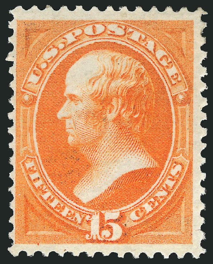 US Stamp Values Scott # 152: 1870 15c Webster Without Grill. Robert Siegel Auction Galleries, Dec 2014, Sale 1090, Lot 1319