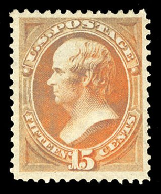 Costs of US Stamps Scott Catalog 152: 15c 1870 Webster Without Grill. Cherrystone Auctions, Mar 2015, Sale 201503, Lot 13