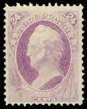 Value of US Stamp Scott Cat. #153: 1870 24c Winfield Scott Without Grill. Daniel Kelleher Auctions, Aug 2015, Sale 672, Lot 2419