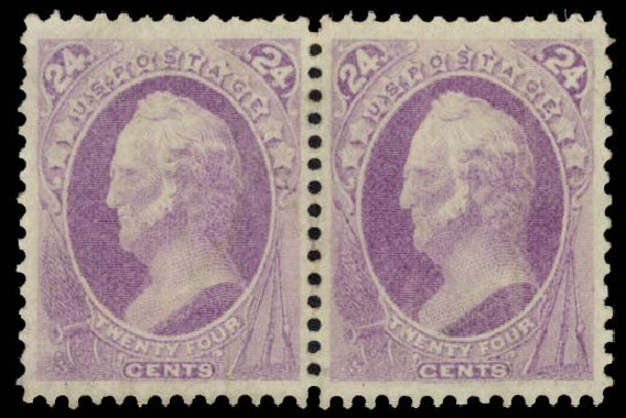 US Stamps Values Scott Catalogue # 153: 1870 24c Winfield Scott Without Grill. Daniel Kelleher Auctions, Aug 2015, Sale 672, Lot 2420